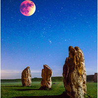 A Blood Moon over the stone circle at Avebury, Wiltshire.  Free UK Postage!