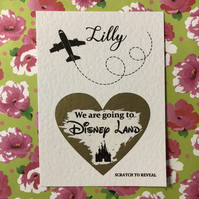 Personalised We are going to Disney - Rome - Paris - holiday scratch card