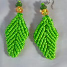 Neon bright Green Macrame Earrings