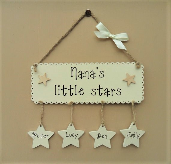 "Personalised ""Nana's little stars"" wooden plaque. Grandma's, Nanny's etc. Mother"