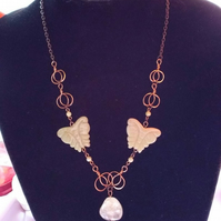 Madame Butterfly - Yellow Jade And Quartz Pendant Copper Wirework Necklace