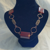The Merchant's Wife - Carnelian and Glass Copper Wirework Necklace