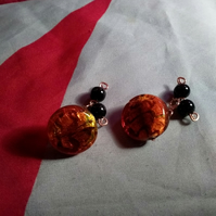 Scorched Copper - Art Glass Bead and Copper Cufflinks