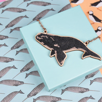 Right Whale Wooden Necklace
