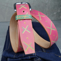 Pink leather belt, hand-dyed excellent quality leather, belt size 35-41 inches