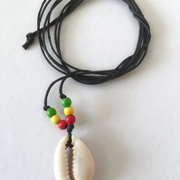 Karmastring Rasta cowrie shell necklace