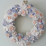 Hand made Suffolk Puff Wreath, Fabric wreath, wall hanging, wall decoration