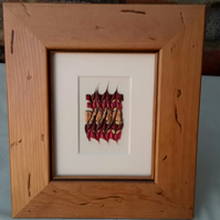 Abstract picture, contemporary art, pine frame