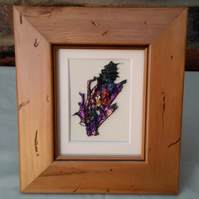 Abstract picture, contemporary art, antique pine frame