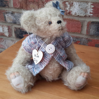 "Dressed Artist Bear, Miss Ivy, One of a kind collectable, 11"" mohair teddy bear"
