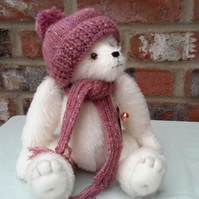"Calico Bear,12"" Mohair Bear,OOAK Collectable Artist Bear, Mothers Day, Valentine"