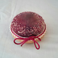 Hand Embroidered Pincushion, Hand dyed Silk Pin Cushion on oak base