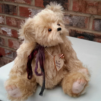 "Bear Hugz, 11.5"" Luxury Mohair Bear, Artist Bear, Collectable Teddy Bear"