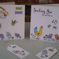 Pack of 2 Birthday Cards & Tags, Birthday, General, Cute,Hand printed & Coloured