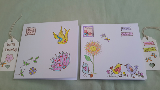 Pack of 2 Cards & Gift Tags, Birthday, General, hand printed cards & Tags