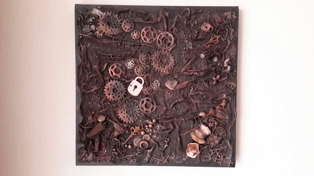 "SALE Steampunk Mixed Media Canvas, 16"" Steampunk Picture, Cogs in Motion"
