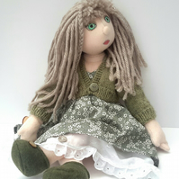 Abigail Cloth Doll, Dressed Art Doll, Collectable Rag Doll, Fully Jointed