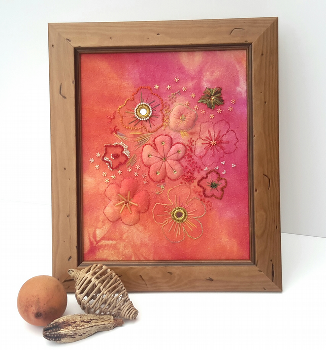 SALE-Hand Embroidered Trapunto Floral Picture, sewn onto Hand dyed Fabric