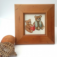 SALE Cross Stitch Reading Bears Picture, Embroidered Teddy Bears Picture