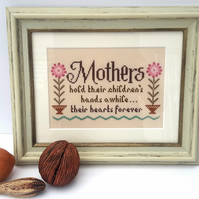 SALE -Hand Embroidered Picture, Hand sewn gift for a special mum, cross stitched