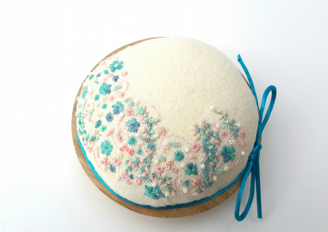 SALE Hand Embroidered Pincushion, Pin cushion on oak base, Keepsake gift
