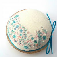 Hand Embroidered Pincushion, aqua & pink embroidered pin cushion on oak base