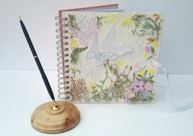 SALE - Mixed Media Journal, Butterflies, scrapbook album, book by Bearlescent