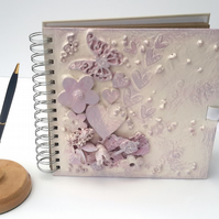 SALE - Pretty Mixed Media Journal, Scrapbook, Album, Butterfly Hearts & flowers