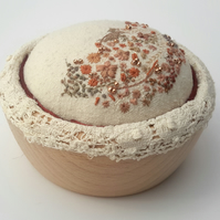 Hand Embroidered Pincushion, hand sewn pin cushion in wooden bowl, Sewing room