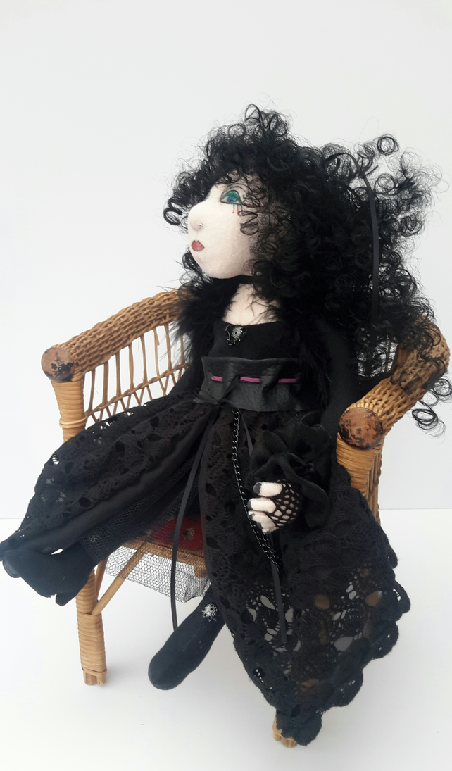 Goth Doll, Willow Handmade Gothic Steampunk Fabric Doll, Cloth Art Doll