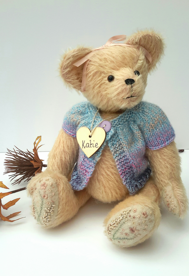 Katie, OOAK Collectable, Mohair Artist Bear, Embroidered & Dressed Teddy Bear