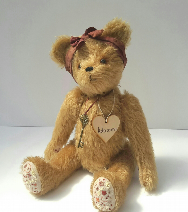Adrianna, Collectable Artist Bear, One of a kind Mohair Bear, Heirloom