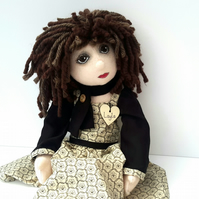 Layla, Collectable Cloth Doll, Handmade Rag Doll, Dressed Doll by Bearlescent