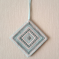 Needlepoint Hanging Tile, Hand Embroidered Canvaswork Decoration