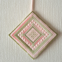 Reduced, Hand Embroidered Needlepoint Hanging Tile, Canvaswork Wall Hanging