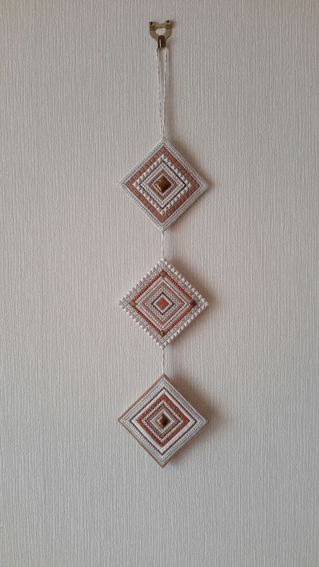 Hand Embroidered Triple Tile Wall Hanging, Needlepoint, Canvaswork with Leather