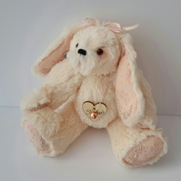 Sherbert, Hand Embroidered Rabbit, OOAK Artist Bunny by Bearlescent