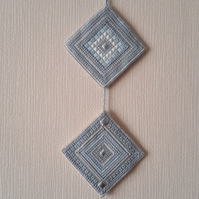 Reduced, Hand Embroidered Needlepoint Wall Hanging, Double Tile Hanger