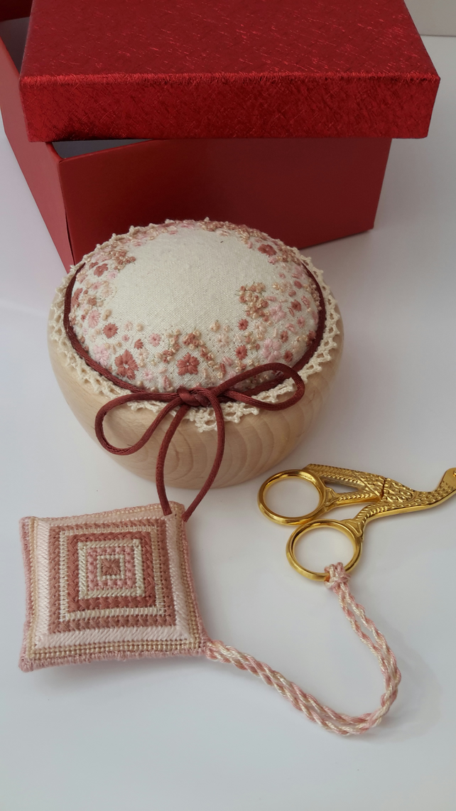 Pincushion, Stork Scissors & Scissor Keep, Hand Embroidered Pin Cushion Gift Set