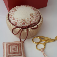 Boxed set Pincushion, Stork Scissors & Scissor Keep, Hand Embroidered Gift Set