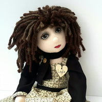 Layla, Collectable Cloth Doll, Handmade Rag Doll, Luxury Keepsake Doll