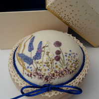 Boxed Pin Cushion, Hand Embroidery Design, Hand Embroidered Pincushion Gift