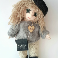 "Misty, 13"" Collectable Doll, Handmade Cloth Doll, OOAK Jointed Doll"