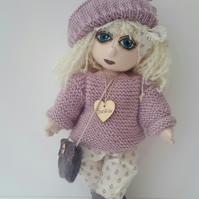 "Saskia, 13"" Tall Handmade Collectable Cloth Doll, OOAK Art Doll by Bearlescent"