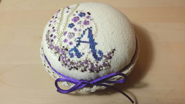 Custom Pin Cushion, Made to Order Personalised Pincushion, Hand Embroidered
