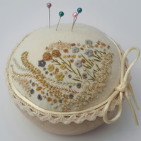 Hand Embroidered Pin Cushion, Mustard and Grey Unique Hand Sewn Pincushion