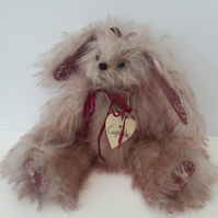 "Cupcake, Steiff Mohair Fabric, 9"" Bunny Bear, Embroidered Collectable Rabbit"
