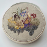 Hand Embroidered Box, Unique Embroidery, Fabric Trinket Box, Jewellery Box