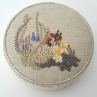 Hand Embroidered Jewellery Box, Trinket Box, Fabric Box Hand Embroidery