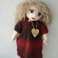 "Tahita, 13"" Handmade Artist Doll, Collectable Cloth Doll by Bearlescent"